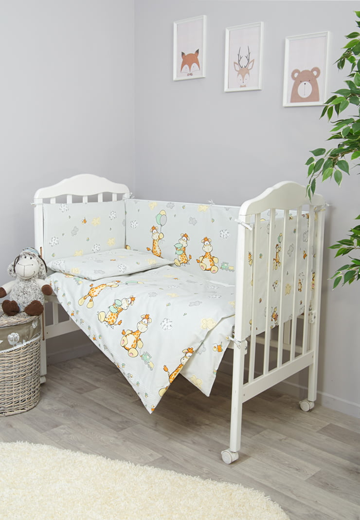 """Постельное белье в детскую кроватку """"Жирафик"""" 7 предметов"""